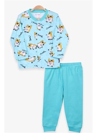 Breeze Erkek Bebek Pijama Takımı Tilki Desenli Su Yeşili  Yeşil
